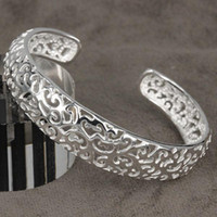 Wholesale Beautiful hot Sterling Silver plated fashion jewelry charm hollow bangle bracelet B144