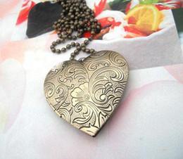 Wholesale 42mm locket Pendant Brass Bronze Copper European Antique Style Heart Flower Prayer Box Photo Locket
