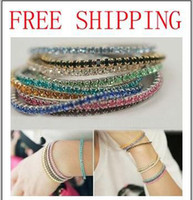 Crystal crystal stretch bracelet - Fashion Jewelry Multi Color Rhinestone Crystal Stretch Bracelet Tennis Bracelets