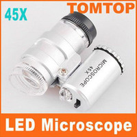 Wholesale Smallest Jeweler s Microscope X LED Mini Pocket Microscope Magnifier Jeweler Loupe H1837