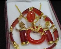 Wholesale red jade pendant bracelet earrings ring set