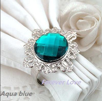 aqua napkin - 200 Aqua Blue Gem Napkin Ring Wedding Bridal Shower Gift