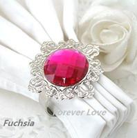 Cheap 200 pcs (200 pcs=1 Lot)Fuchsia Gem Napkin Ring Wedding Bridal Shower Gift-FREE SHIPPING