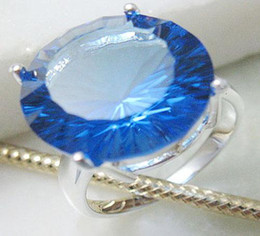 Authentic gemstone jewerly 925 Silver Drop water Blue Sapphire Rings fit Pretty box exquisite