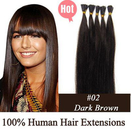 Wholesale 100S quot g Stick tip hair Human Hair Extensions dark brown mix