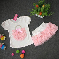 Wholesale Girls dress Sets pink leopard T shirt leopard chiffon cake skirt Girls Suits
