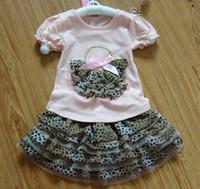Wholesale Girls set girls leopard T shirt tutu skirt Children s Sets Girls dress Suits