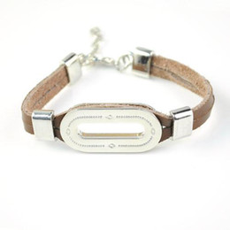 Natural leather bracelets for men with stainless steel accessories for woman statement bracelets Collier Femme jewelry BR-1234