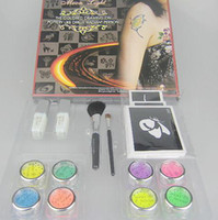 Wholesale Body Painting Tattoo Deluxe Kit Colors Supply Kit glitter tattoo kit Fluorescent Panting Kit FBK8