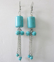 Silver Turquoise Turquoise wholesale-new blue square beads turquoise gemstone dangle earrings tibet silver earrings Chandelier