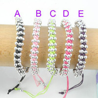 beaded string bracelet - Women summer string wax rope weaved beaded friendship bracelets with adjustable length handmade beads bracelet BR