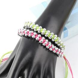 Beads wrap bracelet for Women summer string wax rope weaved beaded friendship bracelets adjustable length handmade beads bracelet ,BR-1218