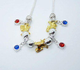 Fashion jewelry 925 Silver gold-plated coursers fit cute ruby blue sapphire inlaid necklace brand