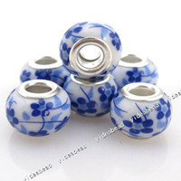 Wholesale 50 New blue ceramic Porcelain flower Charms Bead Fit Bracelet and diy european necklace