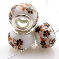 Wholesale 50pcs New yellow flower ceramic Porcelain Charms Bead Fit Bracelet and diy european necklace