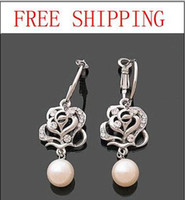 Wholesale Fashion Silver Plated Crystal Rose Pearl Hoop Huggie Earring