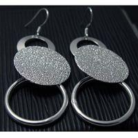 Free PP regalo de Navidad nuevo 925 de plata esterlina moda joyería encanto círculo pendiente E12
