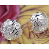 Wholesale Free P amp P price Sterling Silver fashion jewelry charm rose silver earring pair E03