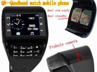 Wholesale 4pcs Touching Panel touch screen dual SIM card standby FM bluetooth cell phone Q8 watch mobile phone