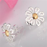 Silver Bohemian Women's Free P&P factory price 925 Sterling Silver fashion jewelry charm sunflower silver earring E14
