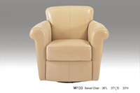 Wholesale REAL LEATHER ROTATION LEISURE CHAIR NOBLE STYLE YELLOW