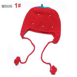 Hot sale Popular Children hat Winter hat Wool Handmade hats 24pcs Red Strawberry hat