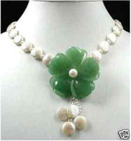 Wholesale Jewelry Green Jade Flower Pendants White freshwater mm mm Coin Pearl Necklace inches