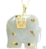 Jade White Animal beautiful natural white jade elephant peandent necklace