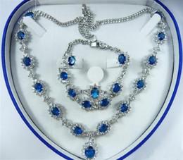 Wholesale cheap Sapphire Zircon Crystal Necklace Bracelet Earrings Ring   Jewelry Sets