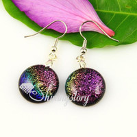 assorted art jewellery making - Round handmade fused art dichroic foil glass dangle earrings jewelry jewellery hand made ladies jewelry for women Mue001