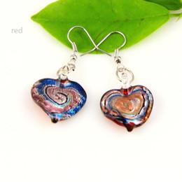 Heart swirled murano lampwork blown venetian glass dangle earrings jewelry jewellery