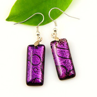 Wholesale Square handmade fused art dichroic foil glass dangle earrings jewelry jewellery