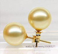 Women's awesome gold - Awesome golden southsea shell pearl mm stud earring