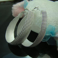 Wholesale 925 Sterling Silver fashion jewelry charm round mesh earring Factory E64
