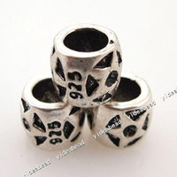 With Metal Elements Other  HOT Carved 925 Star Charms Metal Beads Fit Bracelet and Diy European FREE DHL 150724 444pcs lot