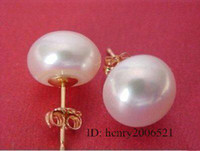 Wholesale natural huge mm white pearl yellow gold stud AAA