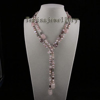 Wholesale New A1143 Length inch Crystal Rose Quartz Pink Color Fresh Water Pearls Necklace
