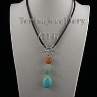 Wholesale New A1147 Black Rope Necklace Red Agate Green Jade Blue Turquoise Necklace