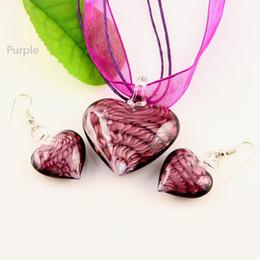 Classic Heart lampwork pendant venetian murano glass pendants necklaces and earrings jewellery sets Mus009 Fashion jewellery
