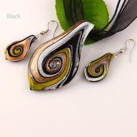 Italian murano jewelry - Leaf glitter lampwork pendants murano handmade glass pendants necklaces and earrings sets Mus011 cheap fashion jewelry