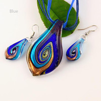 Wholesale Nice leaf murano lampwork blown venetian glass necklaces pendants and earrings jewellery sets Mus011 Cheap fashion jewelry