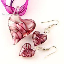 Fashion heart swirled lampwork blown venetian glass fashion necklaces pendants and earrings jewellery sets handmade jewelry Mus014
