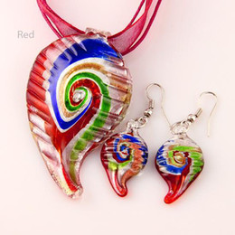 Wholesale Leaf foil murano lampwork blown venetian glass necklaces pendants and earrings jewellery sets