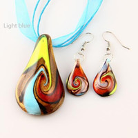 Wholesale Leaf glitter lampwork pendant blown venetian murano glass pendants necklaces and earrings jewelry