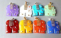Animal Gold Plated Jasper wholesale 8pcs colors Jade Elephant Pendant Necklace