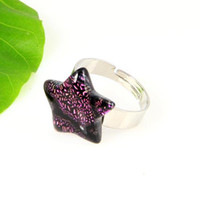 wholesale china - Star art fused dichroic foil murano glass finger rings jewelry jewellery cheap china fashion jewelry Mur001