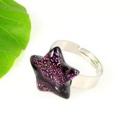 Italian china wholesale - Star art fused dichroic foil murano glass finger rings jewelry jewellery cheap china fashion jewelry Mur001