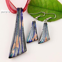 pendentifs en verre de murano feuille Murano soufflé pendentif colliers et boucles d'oreilles en argent définit bijoux de mode en vrac Mus015