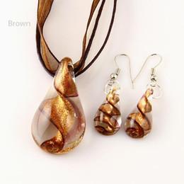 Wholesale Teardrop glitter lampwork pendant blown venetian murano glass pendants necklaces and earrings sets Fashion jewelry in bulk Mus018