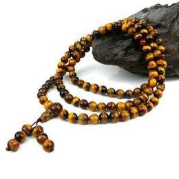 Tibetan buddhist prayer beads, 6mm natural yellow tiger eye jade, meditation yoga 108 beads. Charm necklace